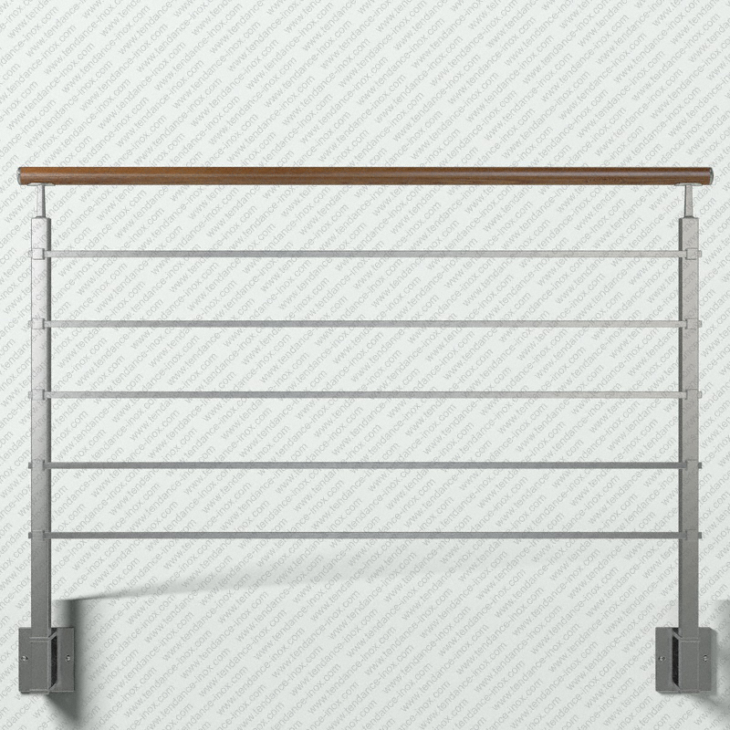 garde corps inox et bois 5 lisses gc5labrl tendance inox. Black Bedroom Furniture Sets. Home Design Ideas