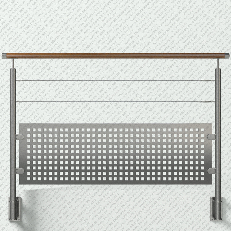 garde-corps inox et bois tole + 2 cables modele tendance-inox T2CACBLDR