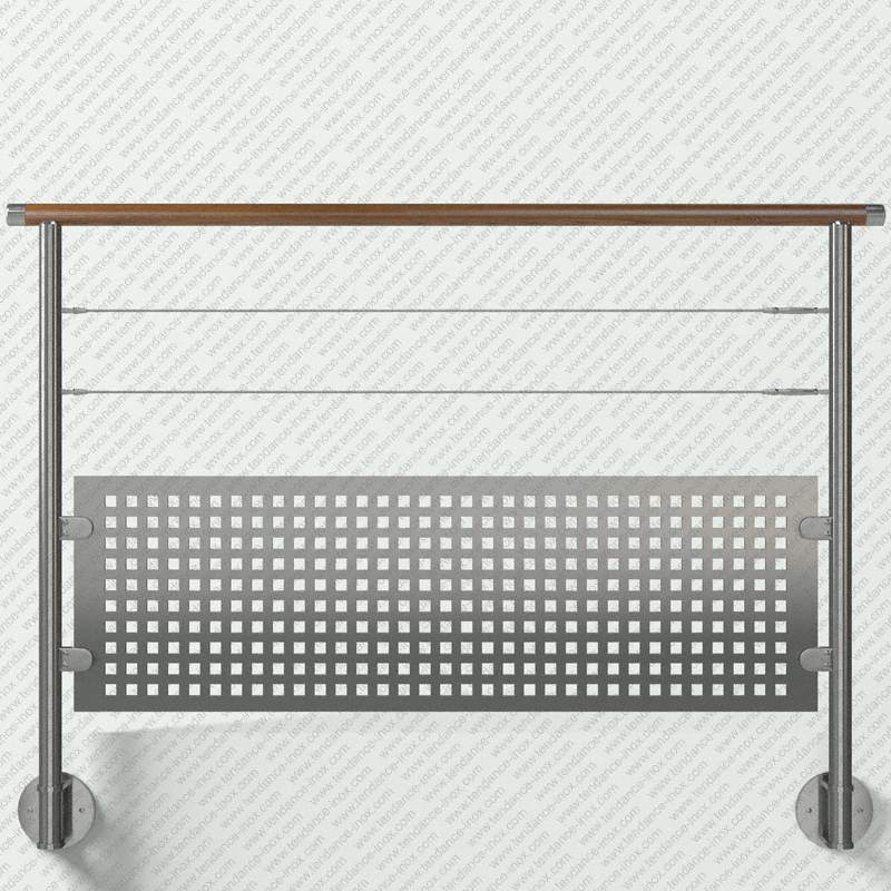 garde-corps inox et bois tole + 2 cables modele tendance-inox T2CARBCDR