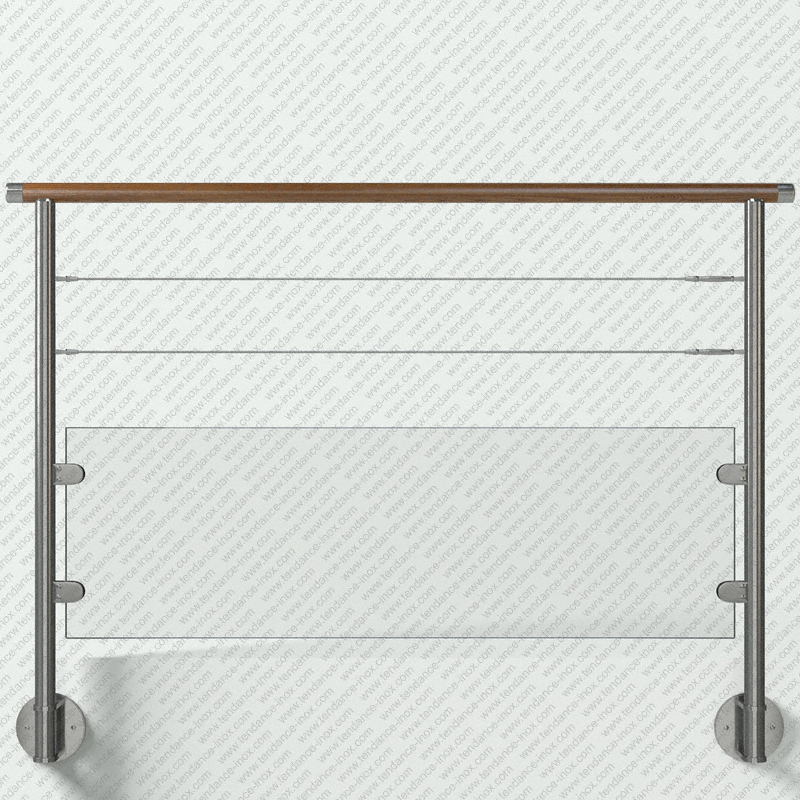 garde-corps inox et bois verre + 2 cables modele tendance-inox V2CARBCDR