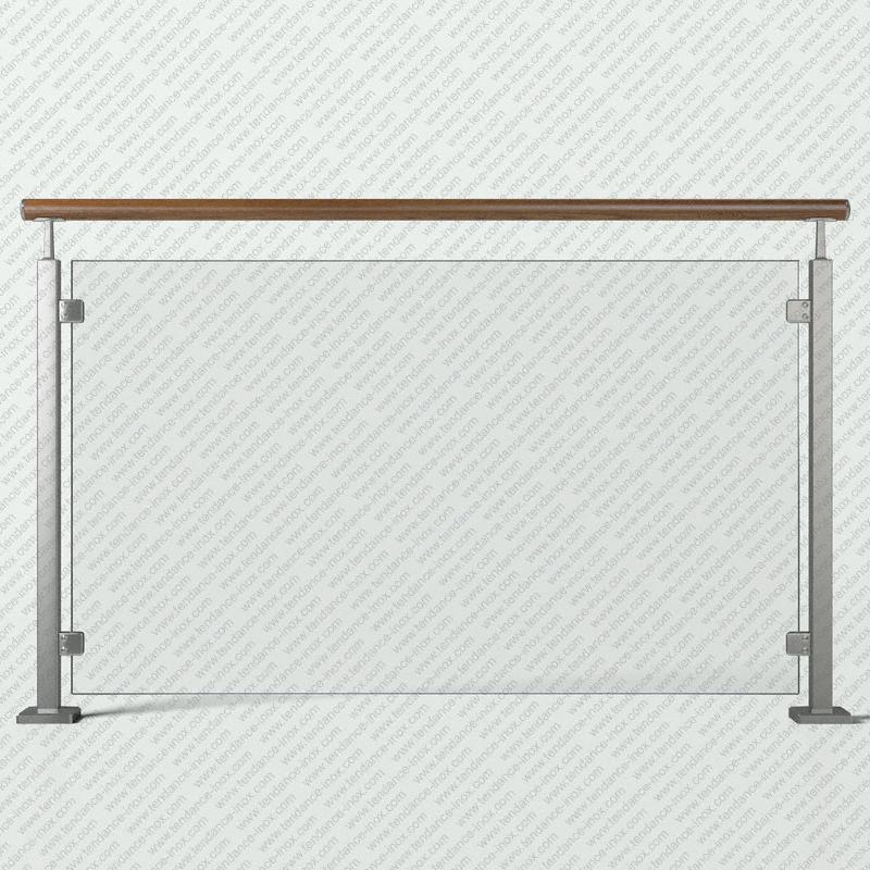 garde-corps inox et bois verre plein modele tendance-inox GCVFBRLC