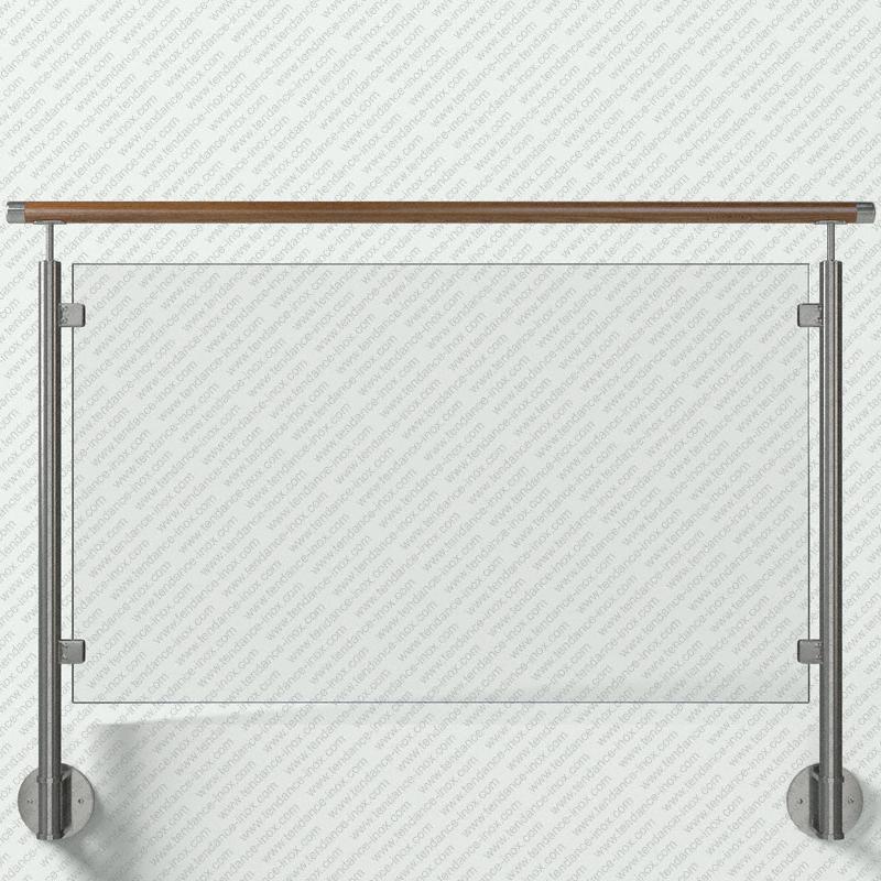 Modèle de garde-corps inox remplissage verre plein, gamme ronde 42,4x2 mm, pose en applique (fixation à l'anglaise) main courante (lisse) bois sur supports longs, platine de forme Ronde (Ø150 mm), pinces à verre carrées