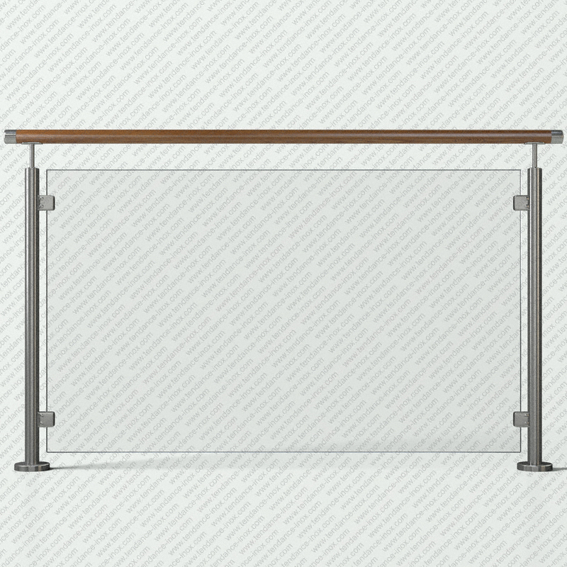 garde-corps inox et bois verre plein modele tendance-inox VFBLC