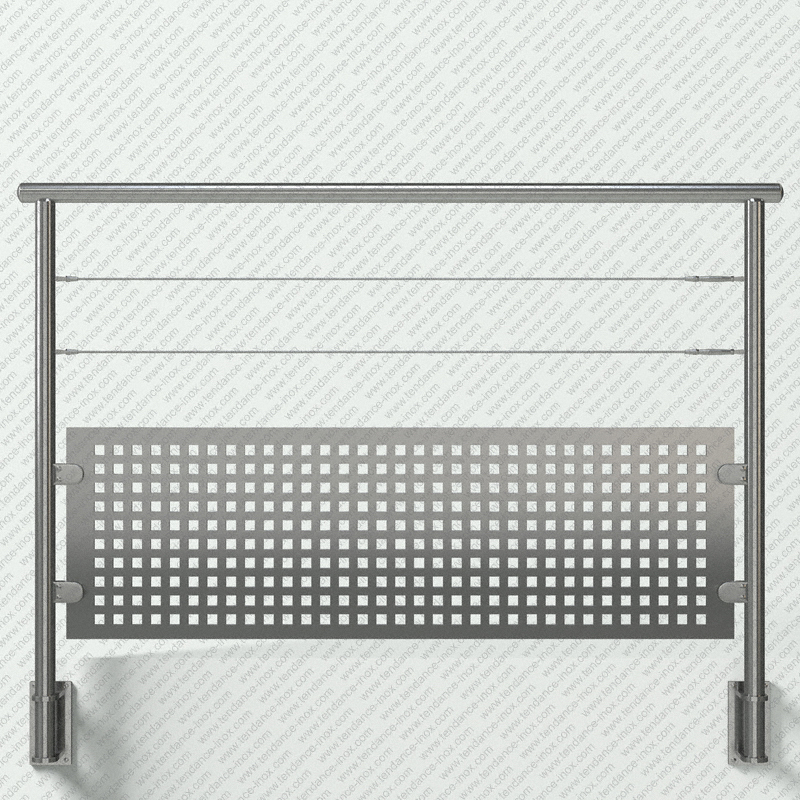 garde-corps inox tole + 2 cables modele tendance-inox T2CACICDR