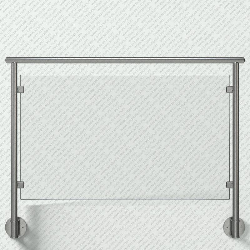 Modèle de garde-corps inox remplissage verre plein, gamme ronde 42,4x2 mm, pose en applique (fixation à l'anglaise) main courante (lisse) inox ronde sur supports Courts, platine de forme Ronde (Ø150 mm), pinces à verre carrées