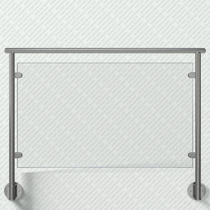 Modèle de garde-corps inox remplissage verre plein, gamme ronde 42,4x2 mm, pose en applique (fixation à l'anglaise) main courante (lisse) inox ronde sur supports Courts, platine de forme Ronde (Ø150 mm), pinces à verre demi-rondes