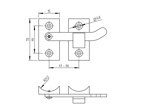 Loquet inox sur tube 42.4 dimensions